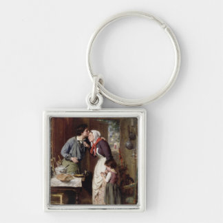 A Son's Devotion, 1868 (oil on canvas) Silver-Colored Square Key Ring