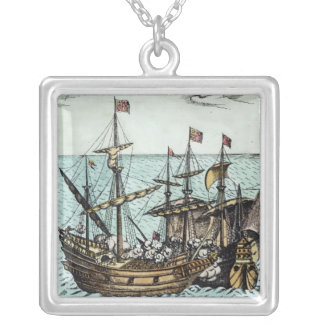 A Spanish Treasure Ship Silver Plated Necklace