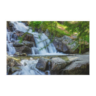 a sparkling jump of a waterfall on wrapped canvas