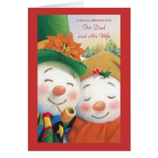 A Special Christmas Wish For Dad and His Wife Greeting Cards