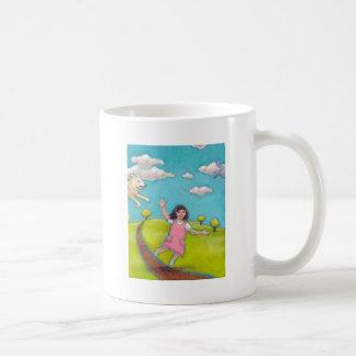 A Special Little Girl - fun flying dog cat art Basic White Mug