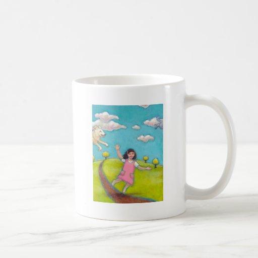 A Special Little Girl - fun flying dog cat art Coffee Mugs
