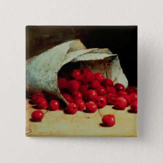 A spilled bag of cherries 15 cm square badge