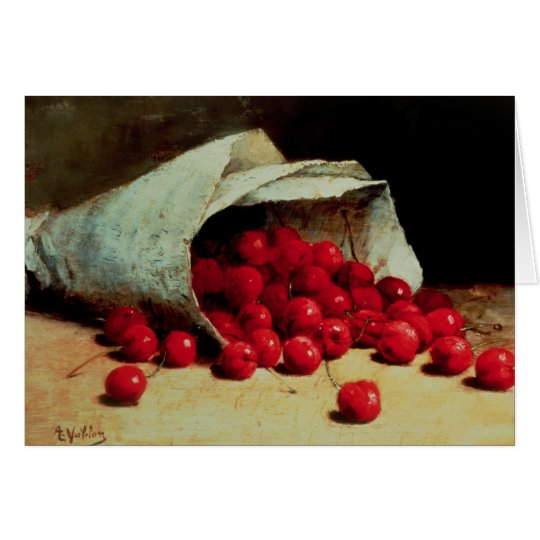 A spilled bag of cherries card