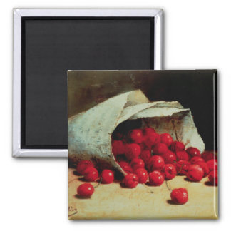 A spilled bag of cherries square magnet