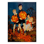 """""""A SPOOKY NIGHT SHOW""""VINTAGE HALLOWEEN GREETING GREETING CARD"""