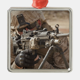 A squad automatic weapon gunner provides securi christmas ornament