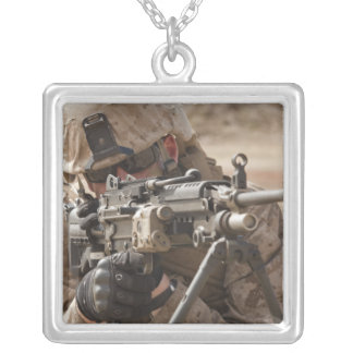 A squad automatic weapon gunner provides securi silver plated necklace