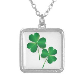 A St. Patrick's Day Green Shamrock Square Pendant Necklace