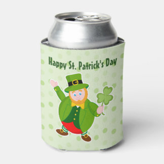 A St. Patrick's Day leprechaun holding a shamrock, Can Cooler