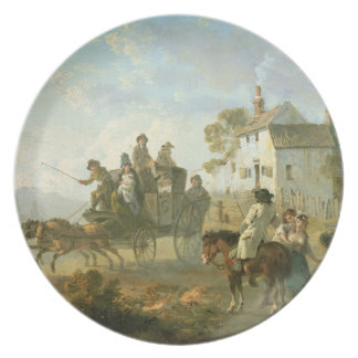 A Stage Coach on a Country Road, 1792 (oil on pane Party Plates