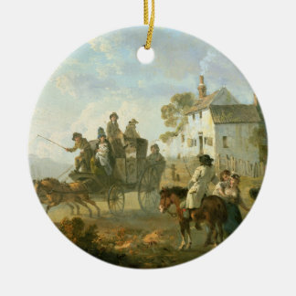 A Stage Coach on a Country Road, 1792 (oil on pane Round Ceramic Decoration