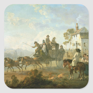 A Stage Coach on a Country Road, 1792 (oil on pane Square Sticker