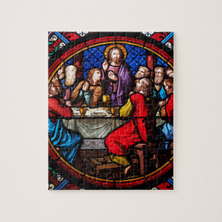 A stained glass image of the last supper puzzle