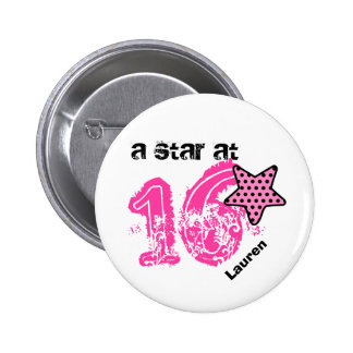 A Star at 16 PINK DOTS Birthday Gift V04B Buttons