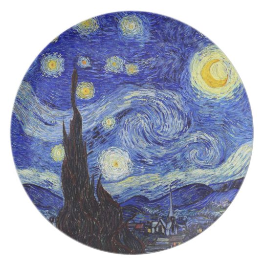 A Starry Night Van Gogh Inspiration Melamine Plate