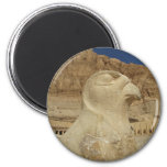 A statue of Horus as a falcon at Hatshepsut temple 6 Cm Round Magnet