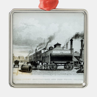 A Steam-Engine Manufactory and Iron Works Silver-Colored Square Decoration