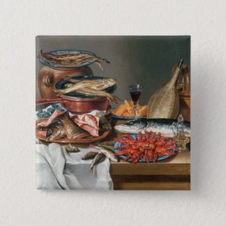 A Still Life of a Fish, Trout and Baby Lobsters, 1 15 Cm Square Badge