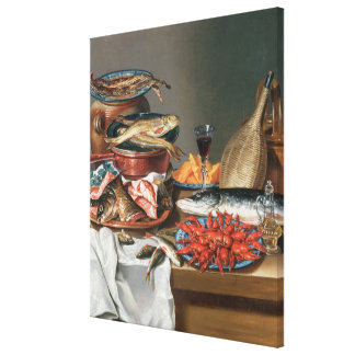 A Still Life of a Fish, Trout and Baby Lobsters, 1 Canvas Print