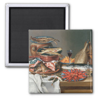A Still Life of a Fish, Trout and Baby Lobsters, 1 Square Magnet