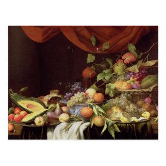 A Still Life of Fruit on a Draped Ledge Postcard