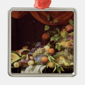 A Still Life of Fruit on a Draped Ledge Silver-Colored Square Decoration