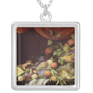 A Still Life of Fruit on a Draped Ledge Silver Plated Necklace