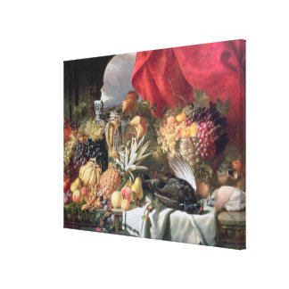 A Still Life of Game Birds and Numerous Fruits Canvas Print