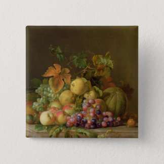 A Still Life of Melons, Grapes and Peaches 15 Cm Square Badge