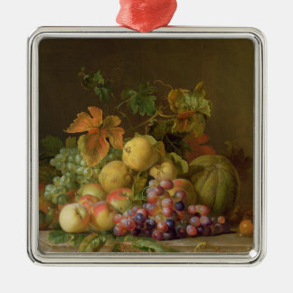 A Still Life of Melons, Grapes and Peaches Silver-Colored Square Decoration