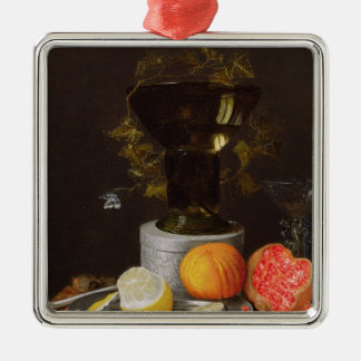A Still Life with a Glass and Fruit on a Ledge Christmas Ornament