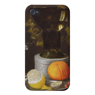 A Still Life with a Glass and Fruit on a Ledge iPhone 4 Case