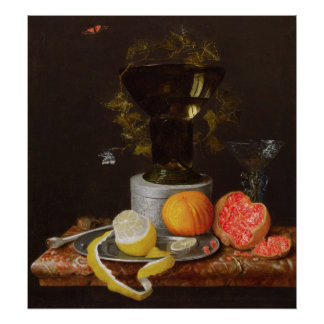 A Still Life with a Glass and Fruit on a Ledge Poster
