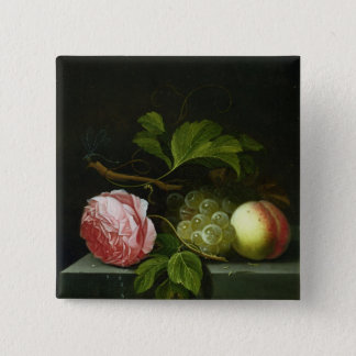A Still Life with a Rose, Grapes and Peach 15 Cm Square Badge