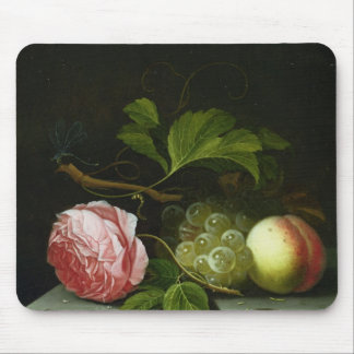 A Still Life with a Rose, Grapes and Peach Mouse Mat