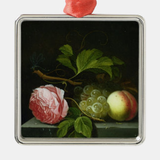 A Still Life with a Rose, Grapes and Peach Silver-Colored Square Decoration