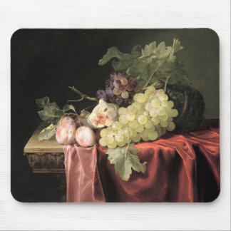 A still life with grapes, plums mouse mat