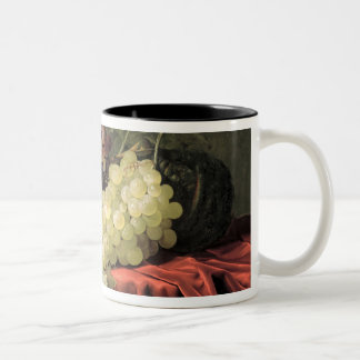 A still life with grapes, plums Two-Tone coffee mug