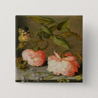 A Still Life with Roses on a Ledge 15 Cm Square Badge