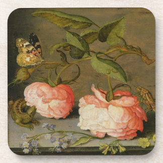 A Still Life with Roses on a Ledge Beverage Coaster