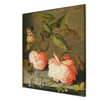 A Still Life with Roses on a Ledge Canvas Print