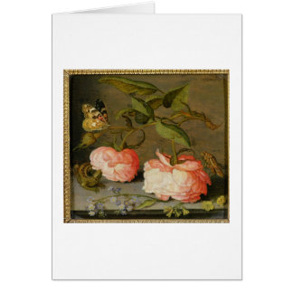 A Still Life with Roses on a Ledge Greeting Card