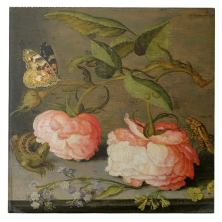 A Still Life with Roses on a Ledge Large Square Tile
