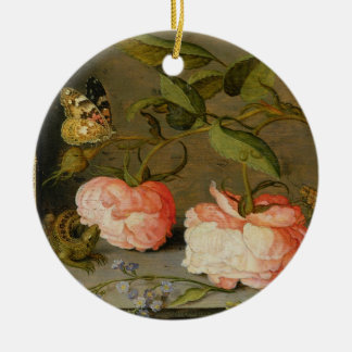 A Still Life with Roses on a Ledge Round Ceramic Decoration