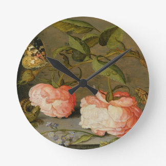 A Still Life with Roses on a Ledge Round Clock