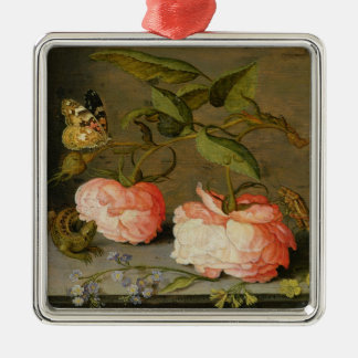A Still Life with Roses on a Ledge Silver-Colored Square Decoration