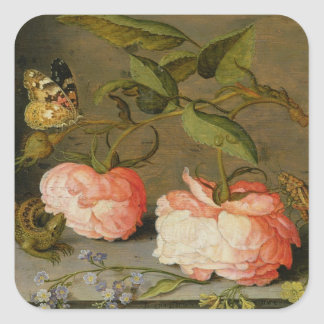 A Still Life with Roses on a Ledge Square Sticker