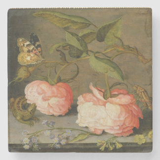 A Still Life with Roses on a Ledge Stone Beverage Coaster