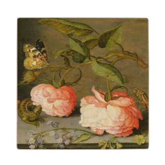 A Still Life with Roses on a Ledge Wood Coaster